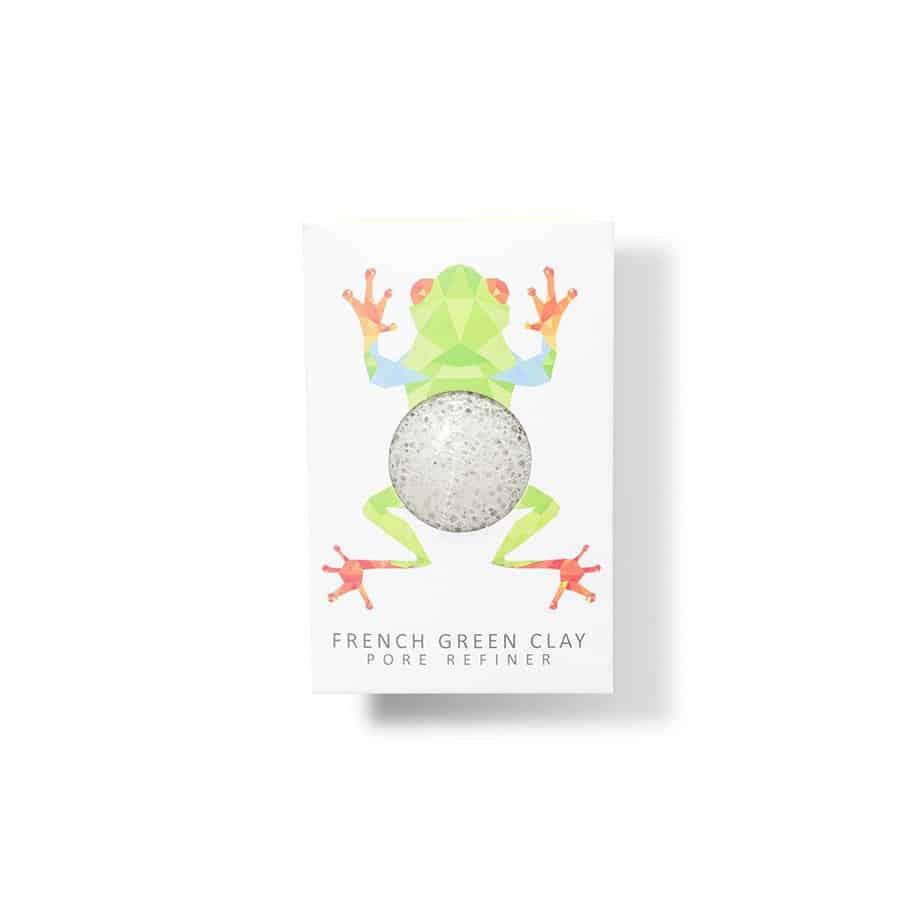 Esponjas Piel sensible The Konjac Sponge Rainforest Frog Mini Face Konjac Sponge French Green Clay