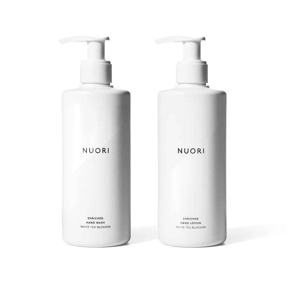 Gel limpiador + Loción hidratante de manos piel sensible Nuori Enriched Hand Wash + Enriched Hand Lotion